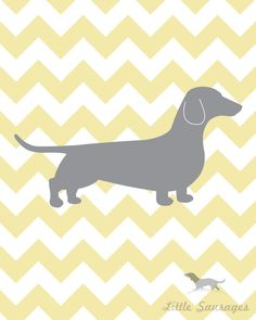 Yellow chevron dog print Chevron Hounds 20 x by LittleSausages, $19.00 @Addie Jones I thought of you when I seem this :)