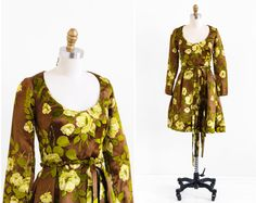 vintage 1960s dress / 60s dress / Brown Silk with by RococoVintage