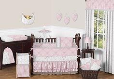 Amazon.com : Pink, Gray and White Shabby Chic Alexa Damask Girls Window Treatment Panels - Set of 2 : Baby