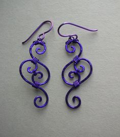 Will have to try this!!!  Purple Swirl Wire Filigree Earrings $38