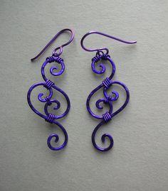 Purple Swirl Wire Filigree Earrings $38