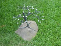 """ON THIS ROCK"", forged entirely from 10 pieces of crane cable.  Mounted on a sandstone base."