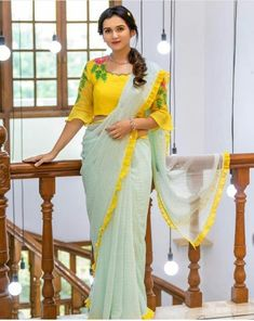 Blouse Designs blouse design Latest Plain saree with Design. - Blouse Designs blouse design Latest Plain saree with Designer Blouse Ideas Saree Blouse Neck Designs, Fancy Blouse Designs, Latest Blouse Designs, Dress Designs, Trendy Sarees, Fancy Sarees, Stylish Sarees, Sari Bluse, Mix Match