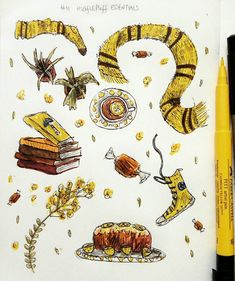 Inktober # 11 — Hufflepuff Essentials! . . . . . I loved doing this one! Nothing like yellow ink and plants to brighten up your stormy hurricane day! And that lemon cake is all mine. No I will not share. MINE. . . The very last one is a WIP (I hadn't finished adding shading with a coloured pencil) but I liked the pic so thought I'd share it anyway! . . Where ma Hufflepuffians at? . . . . . . . . . . . . . . . . . . { #inktober #inktober2017 #harrypotter ...