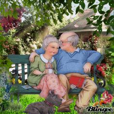 Animated Gif by Kathleen Randle Vieux Couples, Old Couples, Vogel Gif, Growing Old Together, Grow Old With Me, Old Folks, Betty Boop, Animated Gif, Vintage Art