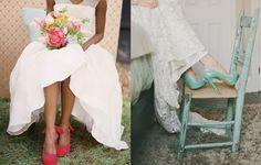 ss14noviazapatocolorrosaverde Tú decides: novia con zapato de color, ¿sí o no?