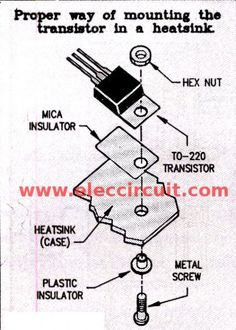 Mountiong the transistor on heatsink Electric Fence Energizer, Electronic Circuit Projects