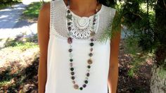 Colorful Natural Stones Necklace Agate by JewelryFromChakarr, $80.00