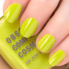 OCC Nail Lacquer in Wasabi is an opaque, bright whitened chartreuse shade.  OCC's professional quality nail lacquers are densely pigmented, five-free, quick-drying, and super long lasting. Formulated with the Editorial Manicurist in mind, the result is maximum color using very little product for nails. Get ready for camera-ready nails just moments after application! Available in Satin and Metallic finishes. Obsessive Compulsive Cosmetics, Body Makeup, Nail Polish Collection, Nails, Editorial, Metallic, Satin, Bright, Beauty