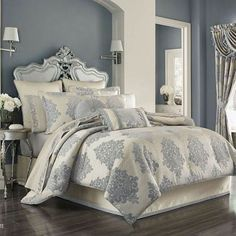J Queen New York Dante Comforter Sets - Bedding Collections - Bed & Bath - Macy's Bridal and Wedding Registry King Comforter Sets, Queen Comforter Sets, Damask Bedding, Luxury Bedding, Bed Linen Inspiration, King Size Comforters, Queens New York, California King Bedding, Queen News