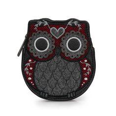 Tweed Owl Coin Bag by Loungefly (Grey/Burgundy)