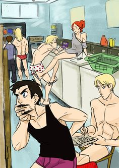 """Avengers' Laundry Day. Let's see... Bruce is trying to explain the laundry """"technology"""" to Thor, Clint Is playing on his DS, Natasha is listening to her music, Cap is doing the crossword in the newspaper (probably glad one thing hasn't changed), and Tony knows he can make a better dryer somehow..."""
