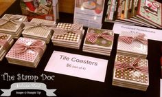 Tile coasters using scrapbook paper