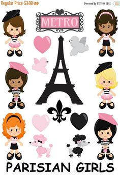 Parisian Girls Planner Stickers These stickers will fit EC Planner, Happy Planner, or any planner!! ❤️Printed on matte sticker paper, kiss cut