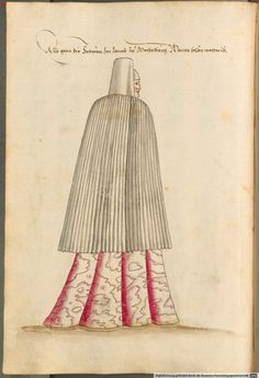 Kostüme der Männer und Frauen in Augsburg und Nürnberg, Deutschland, Europa, Orient und Afrika, Cod.icon. 341,  Augsburg, 16. Jh.  costumes of women and men in Germany, Europe, Orient, Africa 16th Century  Frauentracht aus Meißen, Mecklenburg, Preußen, Sachsen, 25v