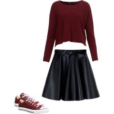 Back To School by roseeebella on Polyvore featuring polyvore, fashion, style, MSGM and Converse