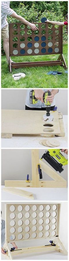 DIY Projects - Outdoor Games - Do It Yourself Connect Four or Four in a Row Game - Easy Woodworking Project - So fun for backyard parties - Tutorial via The Home Depot Blog #woodworkingproject