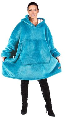 Catalonia Oversized Hoodie Blanket Sweatshirt,Super Soft Warm Comfortable Sherpa Giant Pullover with Large Front Pocket,for Adults Men Women Teenagers Kids Wife Girlfriend,Blue