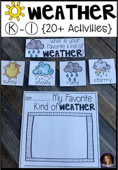 Hands-on factual weather activities for kindergarten and first grade. Are you looking for factual and fun weather activities for your kindergarten and first grade classroom? Our weather unit is just what you need! Teaching Weather, Weather Vocabulary, Preschool Weather, Weather Crafts, Weather Science, Weather Unit, Weather For Kids, Daily Weather, Weather Check
