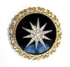 "Stellar Star Brooch Jewelry Rhinestone Victorian Style ""Morning"" Faux Pearls on Gold Tone & Faux Onyx Background $22.00"