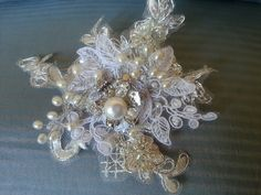 Handmade French lace flower with freshwater pearls