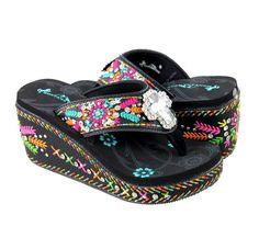 Montana West Embroidered Spiritual Platform Flip Flops Wedge Heel