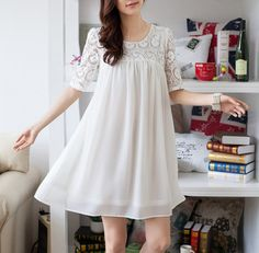 *im in love with this dress!*100190 lbs White Lace Dress Loose Chiffon Dress by lsmartmiss, $45.50