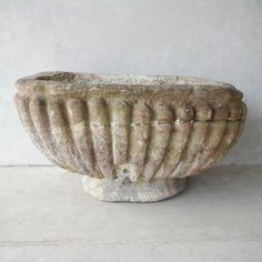 Unique reclaimed antique 17th c. Garden Fountain Basin from the Gardens of Chateau de Sanse in the French Town of Sainte Radegonde Click for details