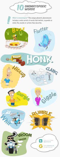 """""""10 Onomatopoeic Words"""" (#INFOGRAPHIC) #ELL #ELD #ESL"""