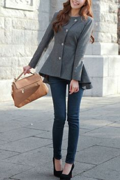 Fit and Flared Grey Coat