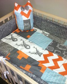 Modern quilt for crib or toddler in woodland by HudsonBedford, $58.00