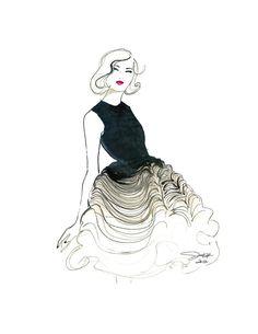 Dior Does Ombre print version, Watercolor Fashion Illustration by Jessica Durran. via Etsy