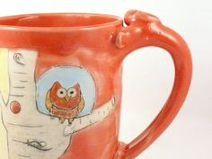Your place to buy and sell all things handmade Yellow Coffee Cups, Periwinkle, Purple, Pretty Mugs, Ceramic Coffee Cups, Little Owl, Pretty Birds, In The Tree, Tree Designs