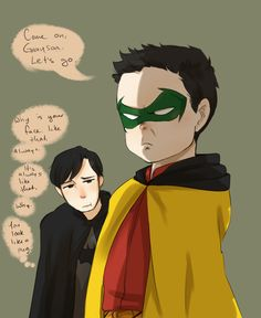 His face IS always like that! Dick Grayson and Damian Wayne