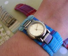 Fabric watch-strap cover. This removable cover can be made to fit any watch, but is particularly suitable for watches with fixed metal straps. It's both pretty and practical, p...