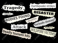 Newspaper Cuttings And Headlines. Natural Disasters And Tragedies ...
