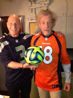 'Football!' Sir Patrick Sewart and Sir Ian McKellen show their football allegiances for Super Bowl Sunday in a Twitter photo posted Friday.