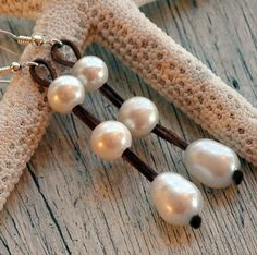 Pearl and Leather Earrings Watersprite by nicholaslandon on Etsy