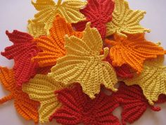 Crocheted Maple Leaves.