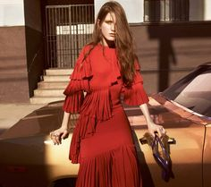 Red dress with fringe detailing // Gucci Fall 2015 Campaign Shot by Glen Luchford in Los Angeles, CA