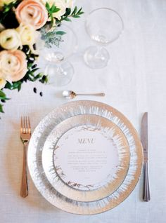 Metallic plates: http://www.stylemepretty.com/little-black-book-blog/2015/03/24/organic-elegant-paris-wedding-inspiration/ | Photography: Le Secret D'Audrey - http://www.lesecretdaudrey.com/