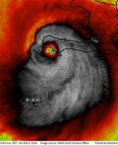 "Hirricane Matthew?? More like Hurricane Mumm-Ra!! Image courtesy of meteorologist Matt Daniel WMAZ. ""This is an infrared image from satellite. It doesn't just have to depict clouds....it can depict the temperatures in the clouds. The darker colors show colder cloud tops and stronger storms. When you see the clouds on satellite that's a visible image that can only be seen during the day. Infrared images can look at many different parts of a storm and can show them using different color…"