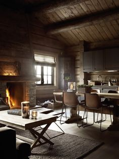 Chalet is a real dream house, comfortable, cozy and with fascinating views! Today we'll have a look at beautiful chalet dining rooms and zones as chalet Cabin Interiors, Rustic Interiors, Design Interiors, Modern Interiors, Loft Interior, Chalet Interior, Stylish Interior, Interior Livingroom, Casas Containers