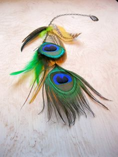 Peacock feather hair extensions