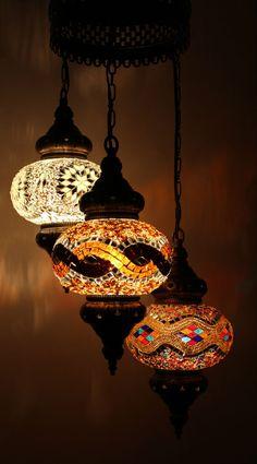 Multicolour Turkish Mosaic Hanging Lamp Light Hand Craft 3 Large Globe