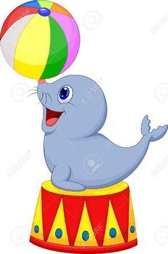 Circus cartoon seal playing a ball. Illustration of Circus cartoon seal playing , Circus Carnival Party, Circus Theme Party, Carnival Birthday Parties, Carnival Themes, Circus Birthday, Party Themes, Decoration Cirque, Circus Decorations, Circus Crafts