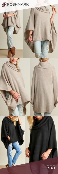 KAYCEE poncho style sweater - OATMEAL Super fun & comfy cowl neck sweater. So chic!   Also available in dark charcoal.  NO TRADE, PRICE FIRM Bellanblue Sweaters Shrugs & Ponchos
