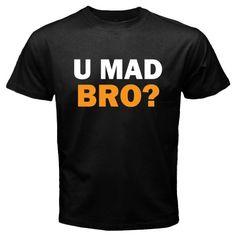 Funny U Mad Bro ? Orange Text Basic Tee Black T-Shirt