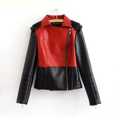 $27.89Color Block Long Sleeves Zipper PU Leather Modern Style Jacket For Women (RED,L)