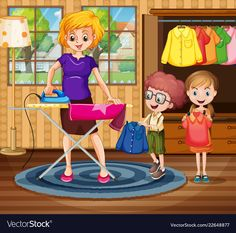 Mother ironing cloth for children Royalty Free Vector Image Kindergarten Art Lessons, Kindergarten Math Worksheets, Preschool Writing, Preschool At Home, Art Drawings For Kids, Art For Kids, Hand Washing Poster, Picture Composition, Writing Pictures